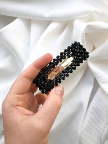 Spinka z kryształkami Czarna Prostokątna KAJO 3